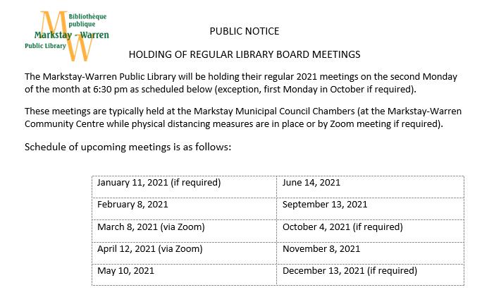 list of 2021 board meetings